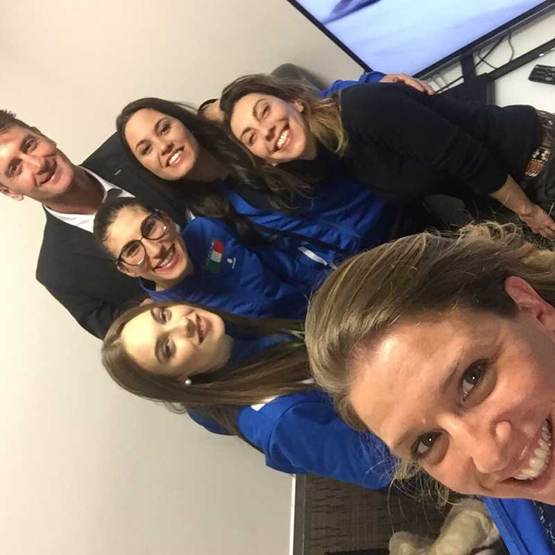 2018 - Selfie negli Studi di SkySport Milano per Live delle Azzurre della Pista con il CT Salvoldi